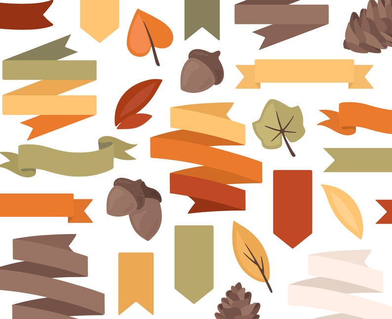 Autumn fall ribbon pine. Nature clipart banner