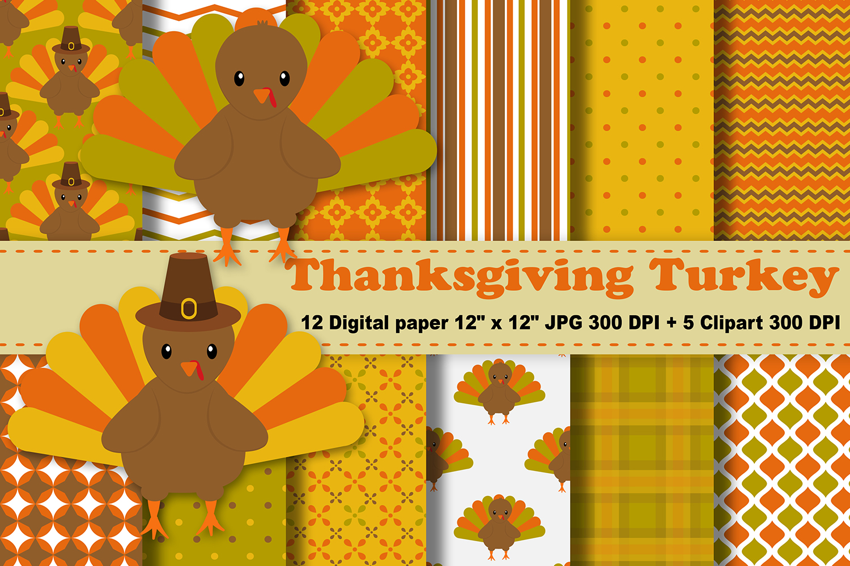 Thanksgiving digital paper background. Clipart turkey pattern