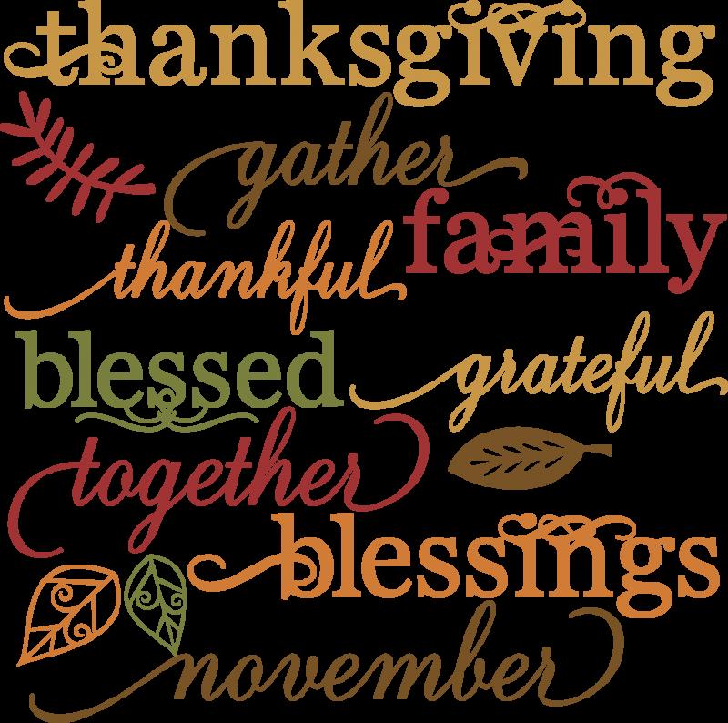 Clipart thanksgiving scrapbook. Words set svg cut