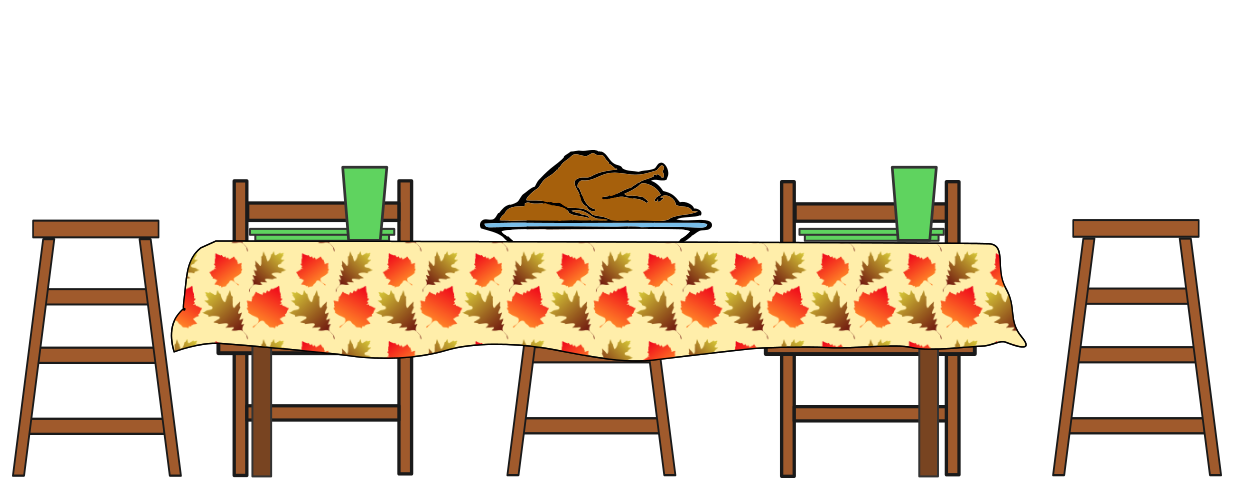 Hungry clipart dinner. Table thanksgiving feast pencil