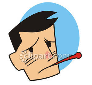 Sick man with in. Clipart thermometer mouth thermometer