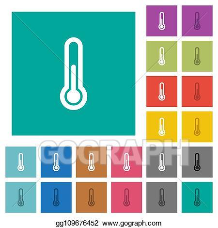 Clipart thermometer plain. Eps illustration square flat