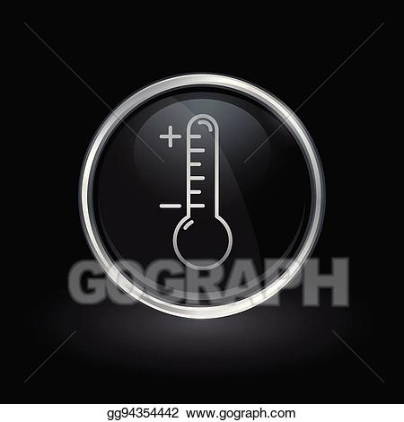 Clipart thermometer round. Vector icon inside silver