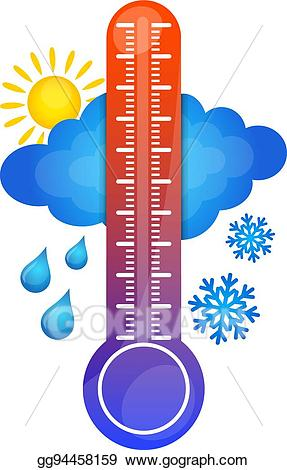 Clipart thermometer temperature increase. Eps illustration symbol of