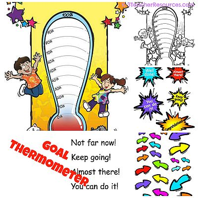 Printable . Clipart thermometer thermometer goal chart