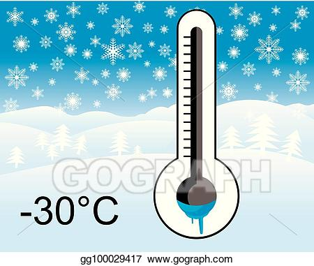 Clipart thermometer winter. Vector art ice cold