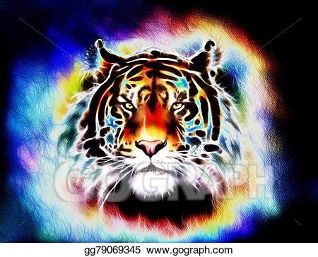 Clipart tiger abstract. Painting of a bright
