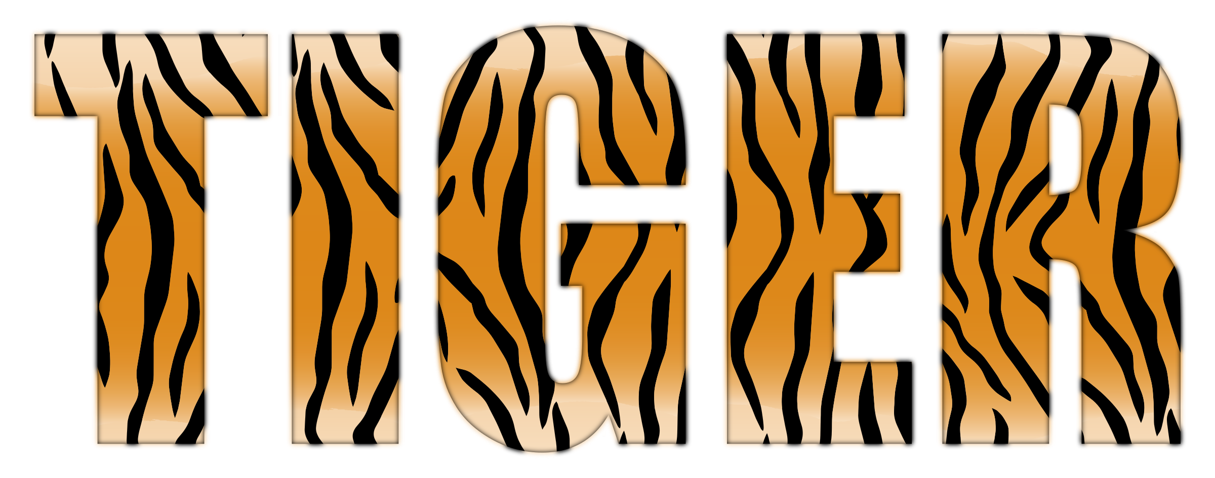 Typography enhanced big image. Clipart tiger abstract