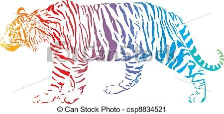 Vector rainbow stock . Clipart tiger abstract