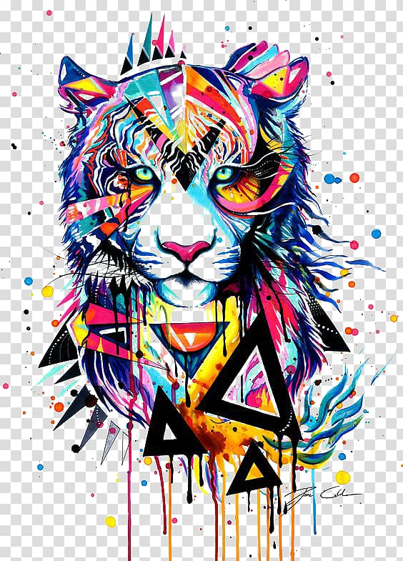 Painting watercolor drawing . Clipart tiger abstract