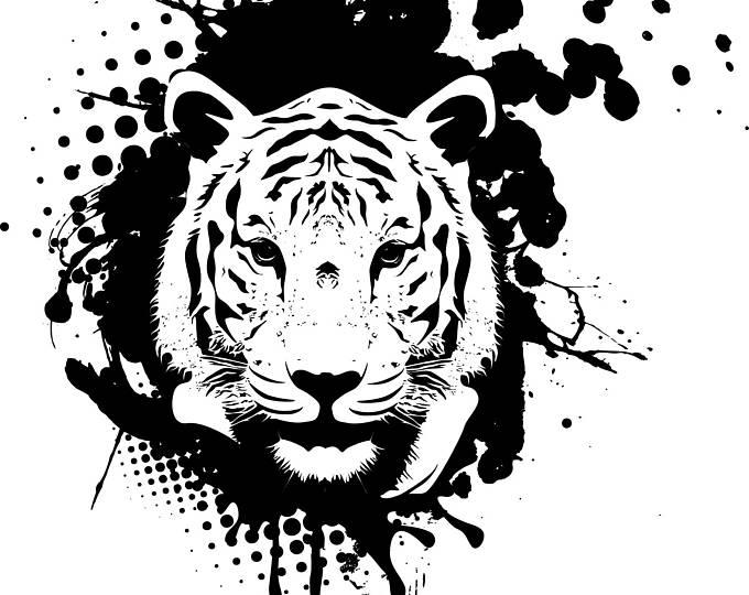 Download fotobehang tijger zwart. Clipart tiger abstract