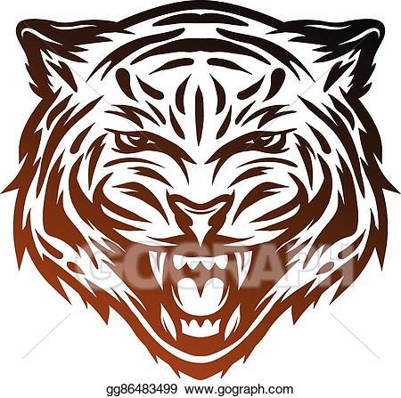 Clipart tiger aggressive. Vector face line art