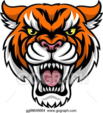 Clipart tiger angry. Eps illustration mascot vector