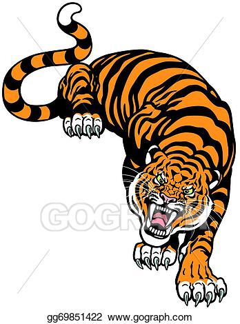 Clipart tiger angry. Vector art drawing gg