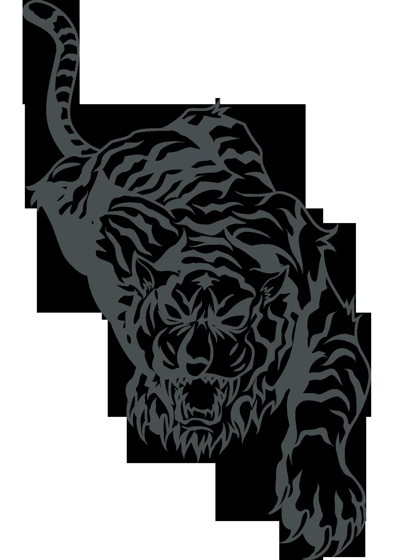 Tattoo flash clip art. Clipart tiger black and white