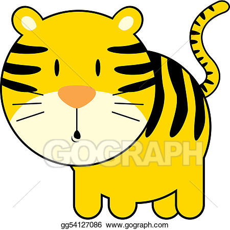 Clipart tiger easy. Vector cute baby illustration