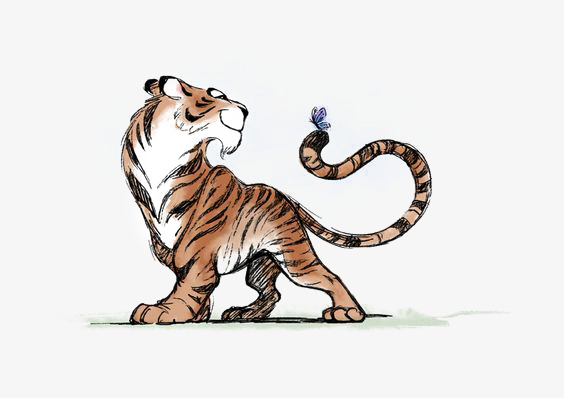 Painted illustration . Clipart tiger hand