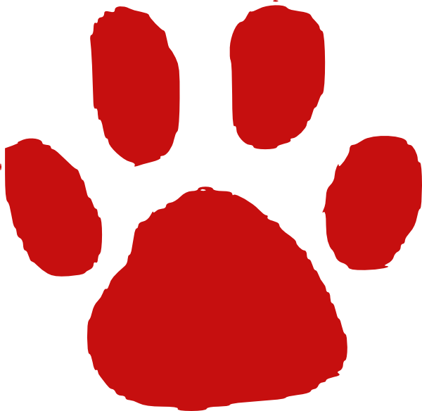 Trail clipart footprint. Red paw print jokingart