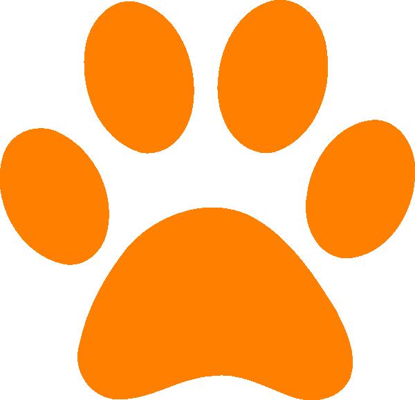Footprints clipart footprint trail. Orange paw print clip