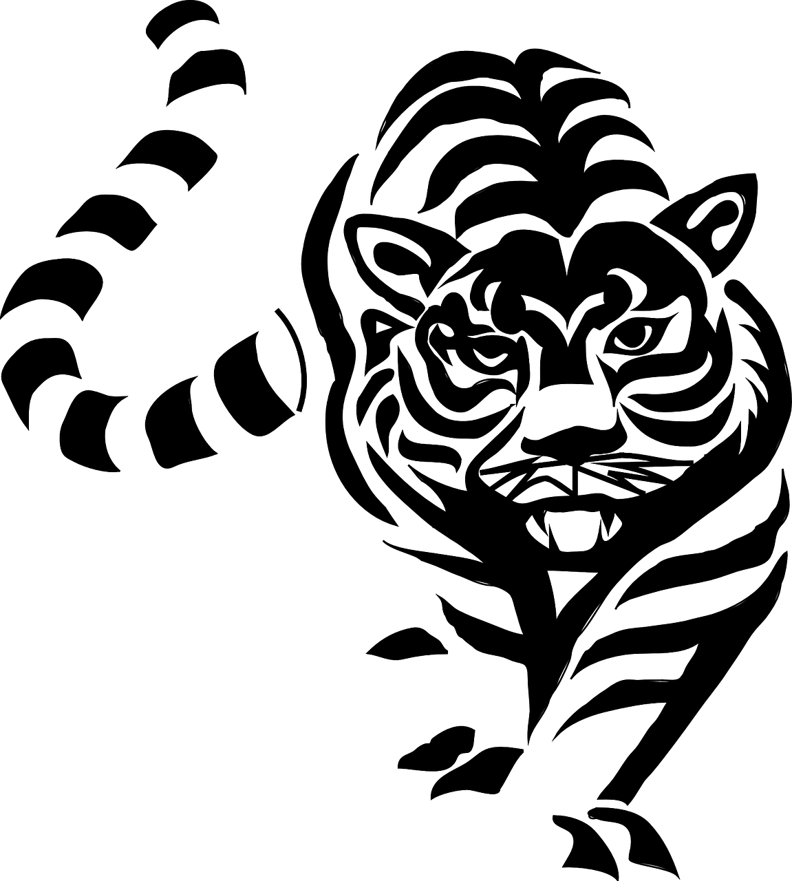 White chinese zodiac black. Clipart tiger south china tiger