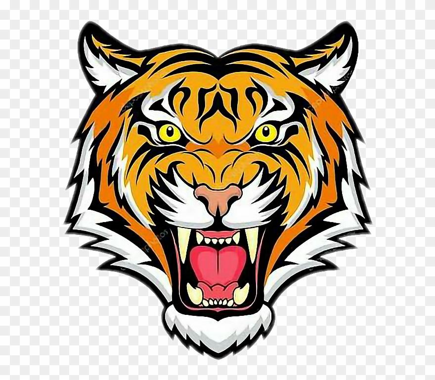 Clipart tiger tiger head. Roaring png download