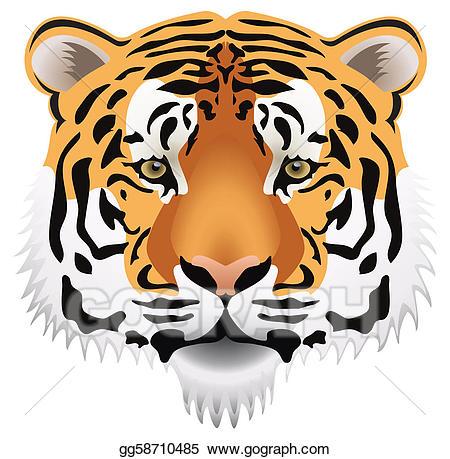 Clipart tiger tiger head. Vector art drawing gg