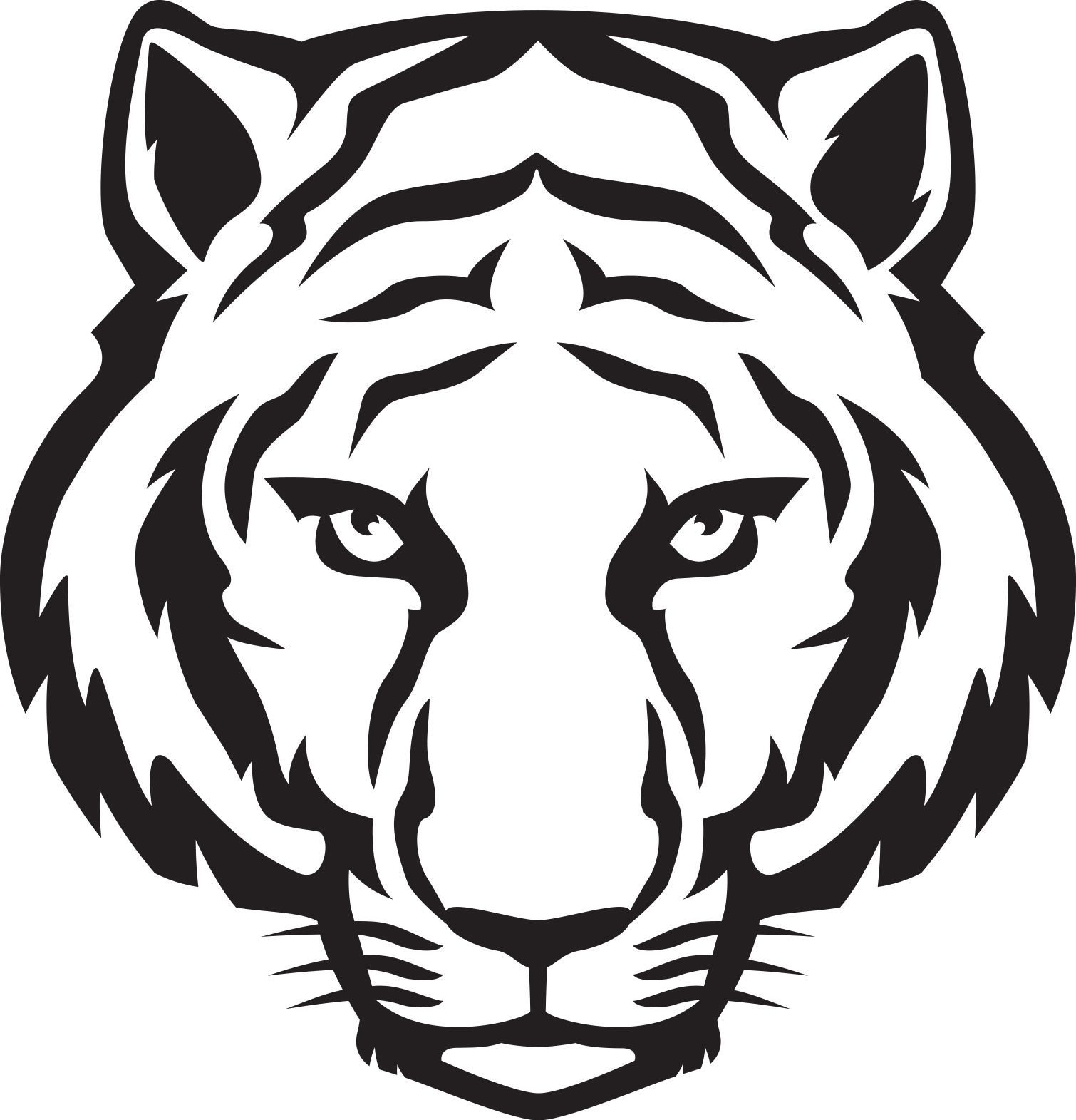 Outline eyes black and. Clipart tiger tiger head