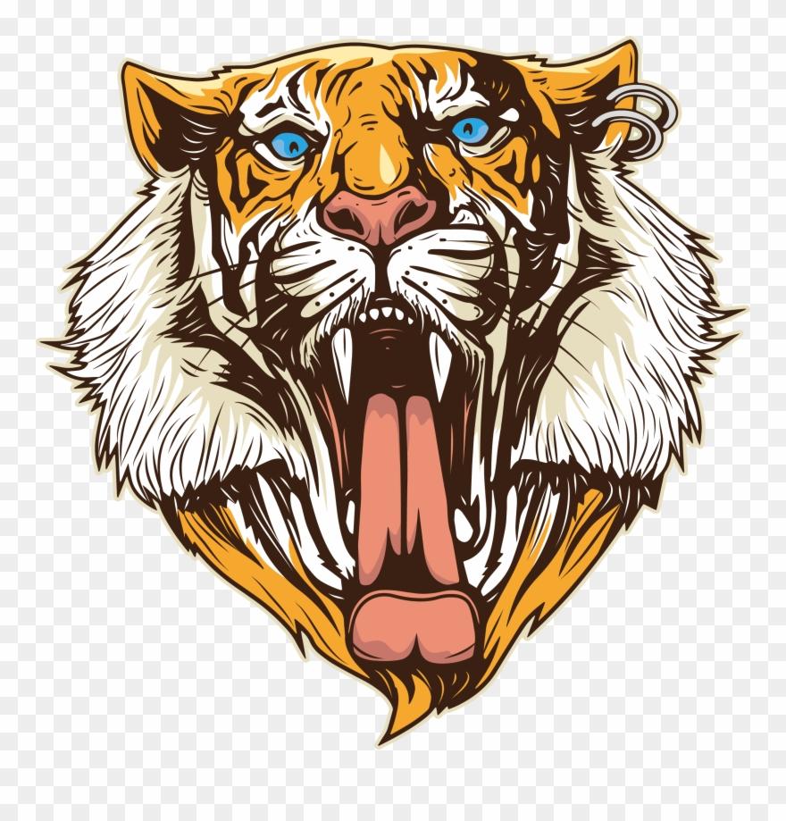 Open mouth cabe a. Clipart tiger tigre