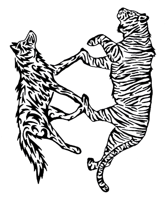 Wolves clipart tiger. Wolf and tattoo by