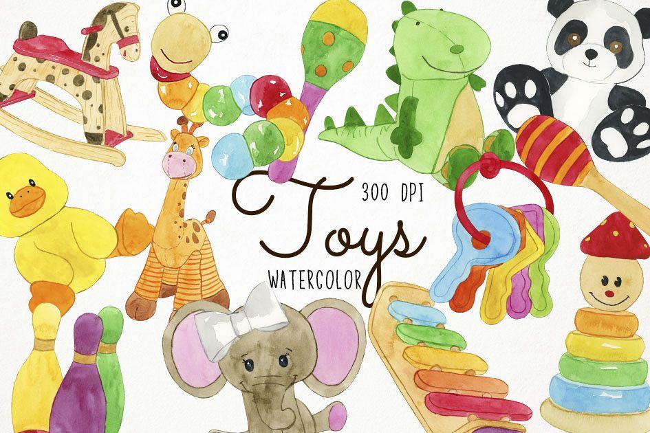 Watercolor clip art design. Clipart toys