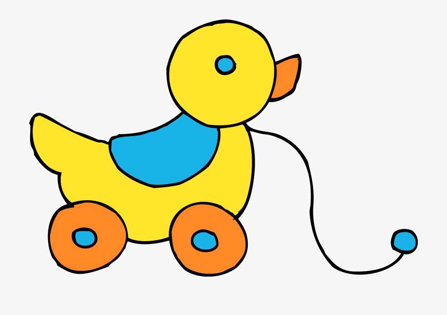 Rolling yellow ducky . Clipart toys baby toy