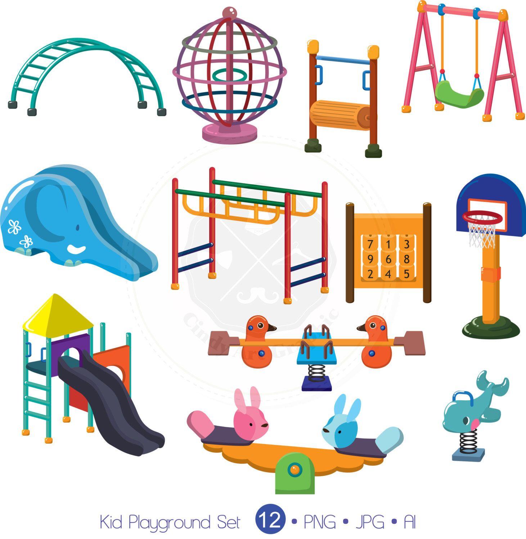 Kid set . Playground clipart toy