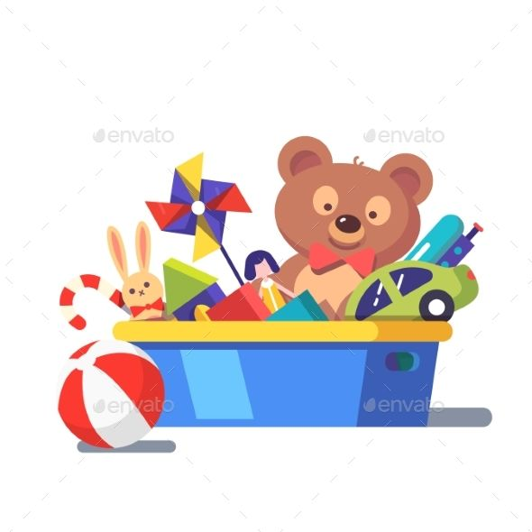 Clipart toys toy chest. Kids box full of