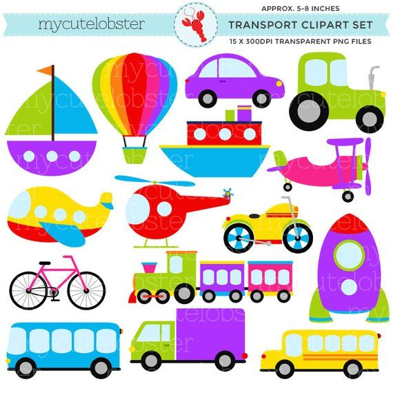 Transport set clip art. Transportation clipart printable