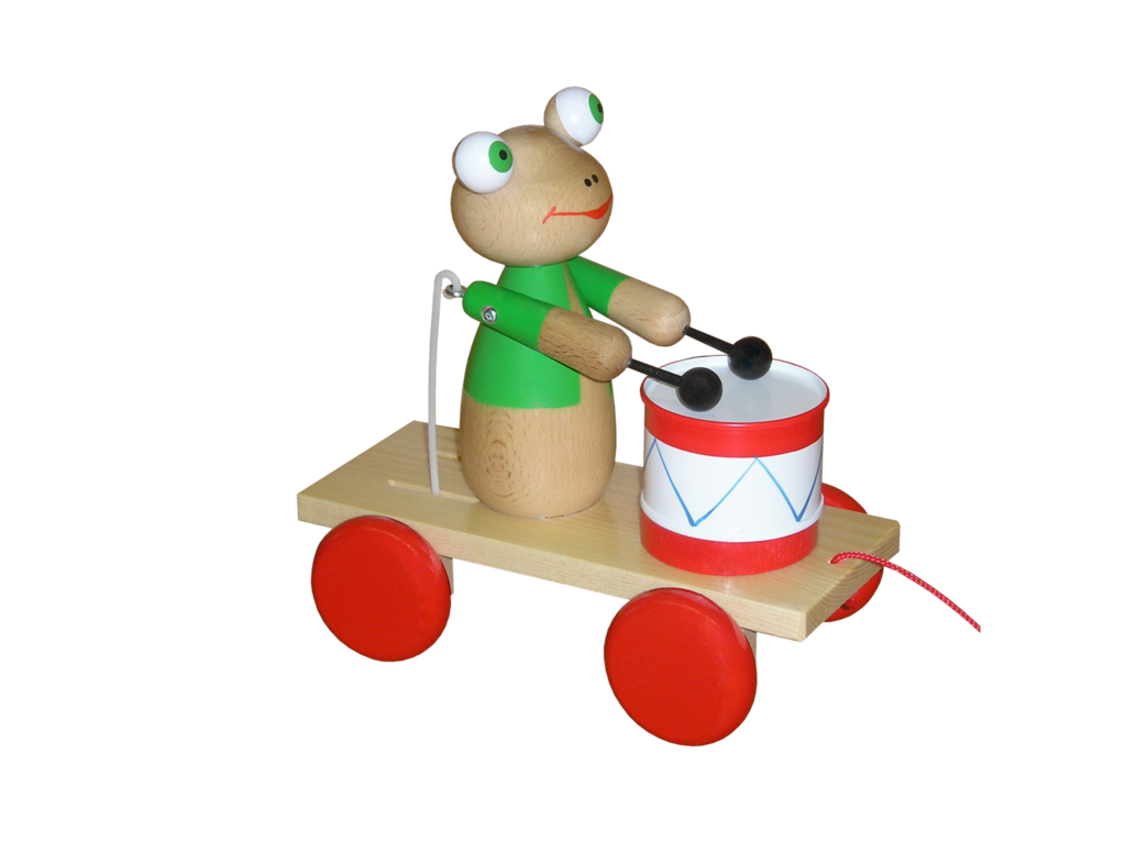 Wooden pull along frog. Xylophone clipart plan toy
