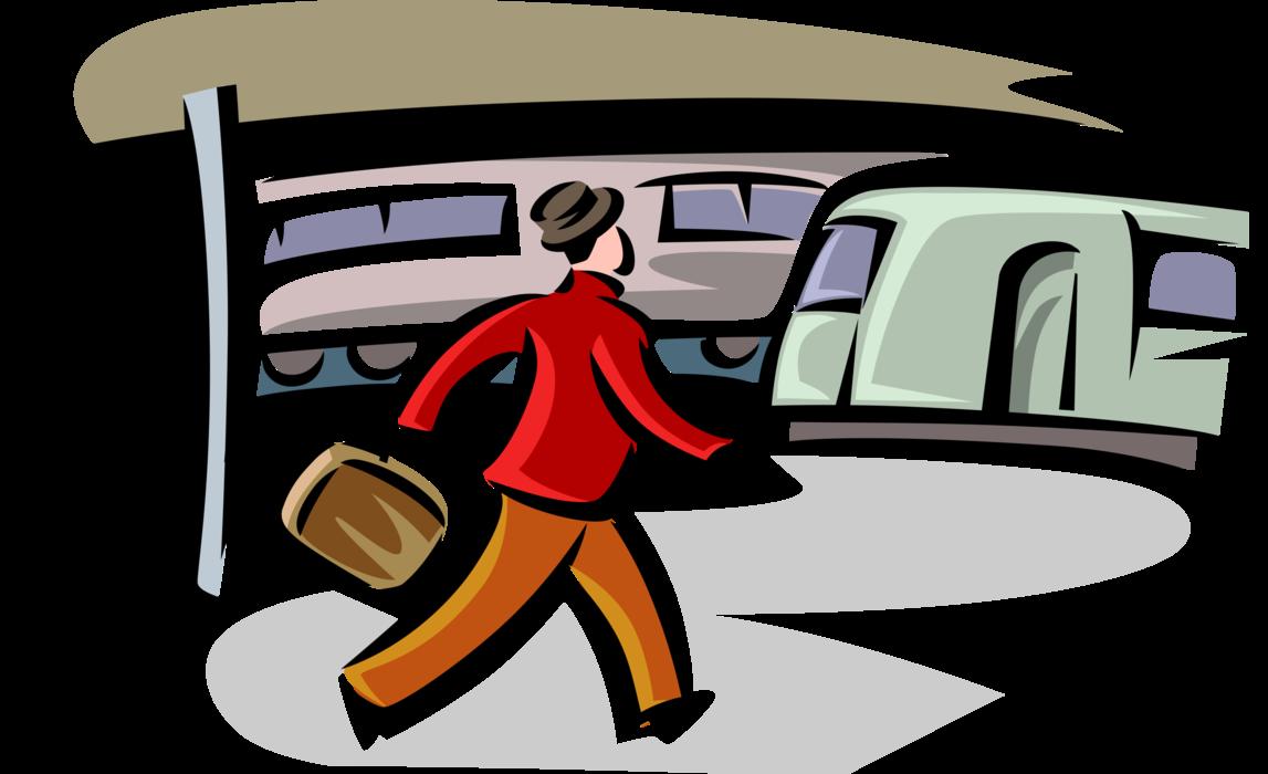 Clipart train commuter train. Walks on platform at