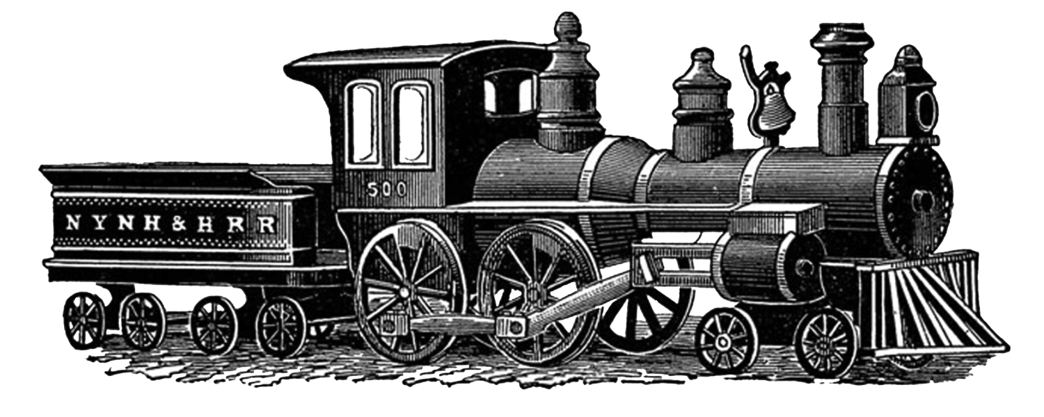 collection of vintage. Steampunk clipart train