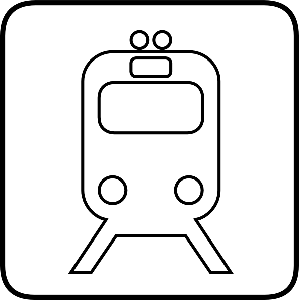 Clipart train sign. Black and white clip