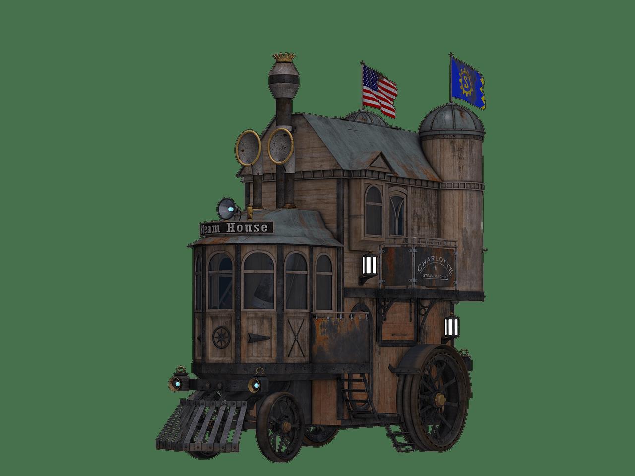 Locomotive side view transparent. Steampunk clipart train