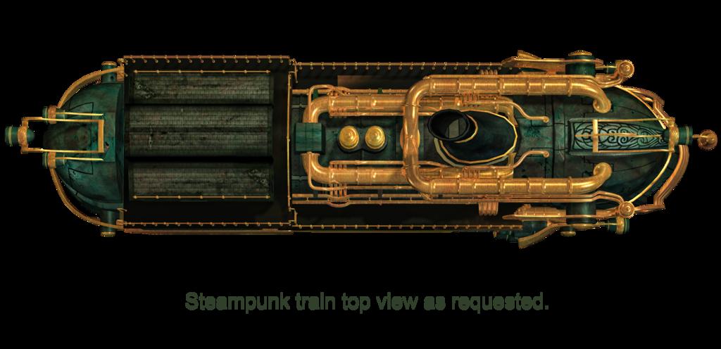 Motorky a jina vozidla. Steampunk clipart train