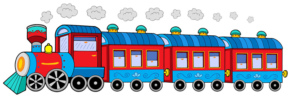 Rail transport passenger car. Engine clipart red train