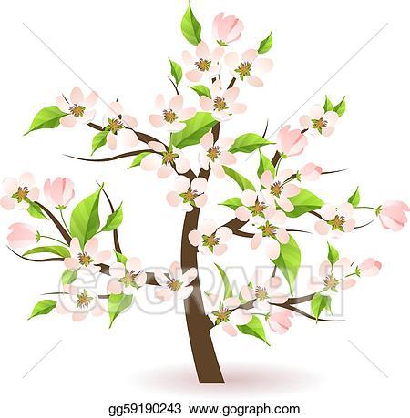 Clip art vector blossoming. Clipart tree apple blossom
