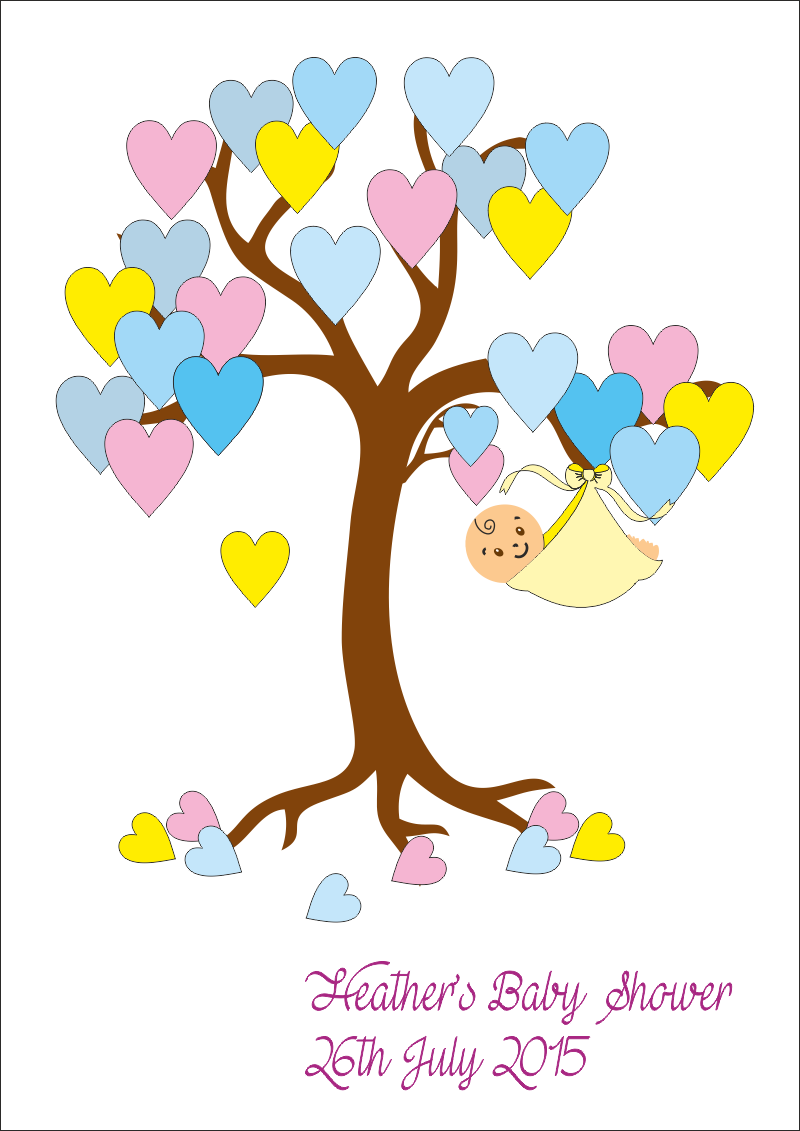 Clipart tree baby shower. Keepsake poster printed pressies