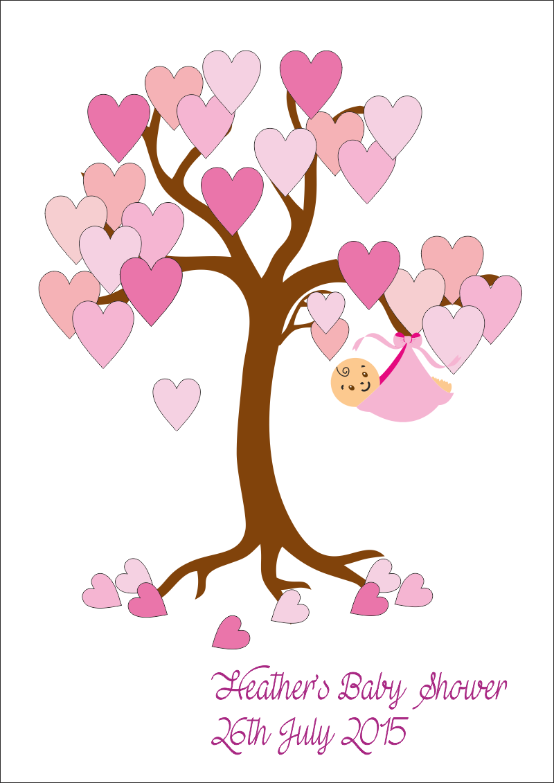Pencil and in color. Clipart tree baby shower