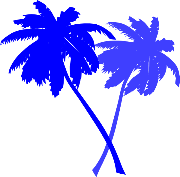 Palm trees clip art. Tree clipart blue