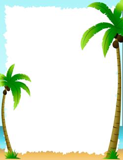 Palm gift tag borders. Clipart tree border design