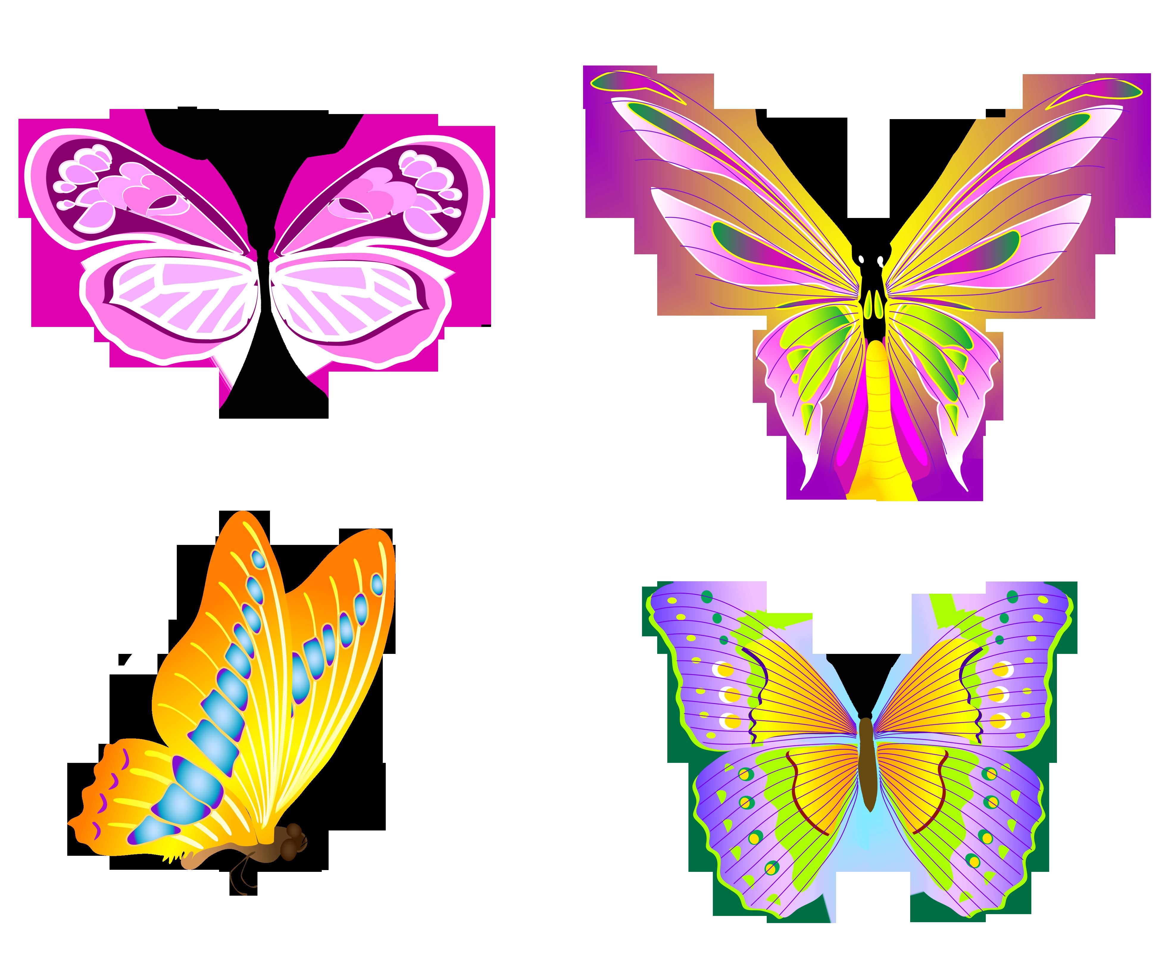 Transparent butterflies set png. Clipart tree butterfly
