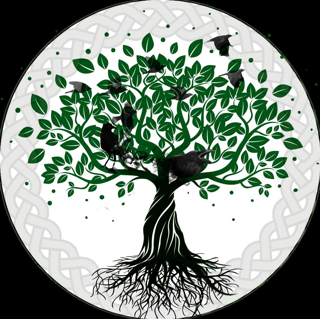 Yggdrasil raven celtic knot. Tree clipart circle