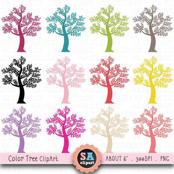 Clip art pack silhouettes. Tree clipart colour