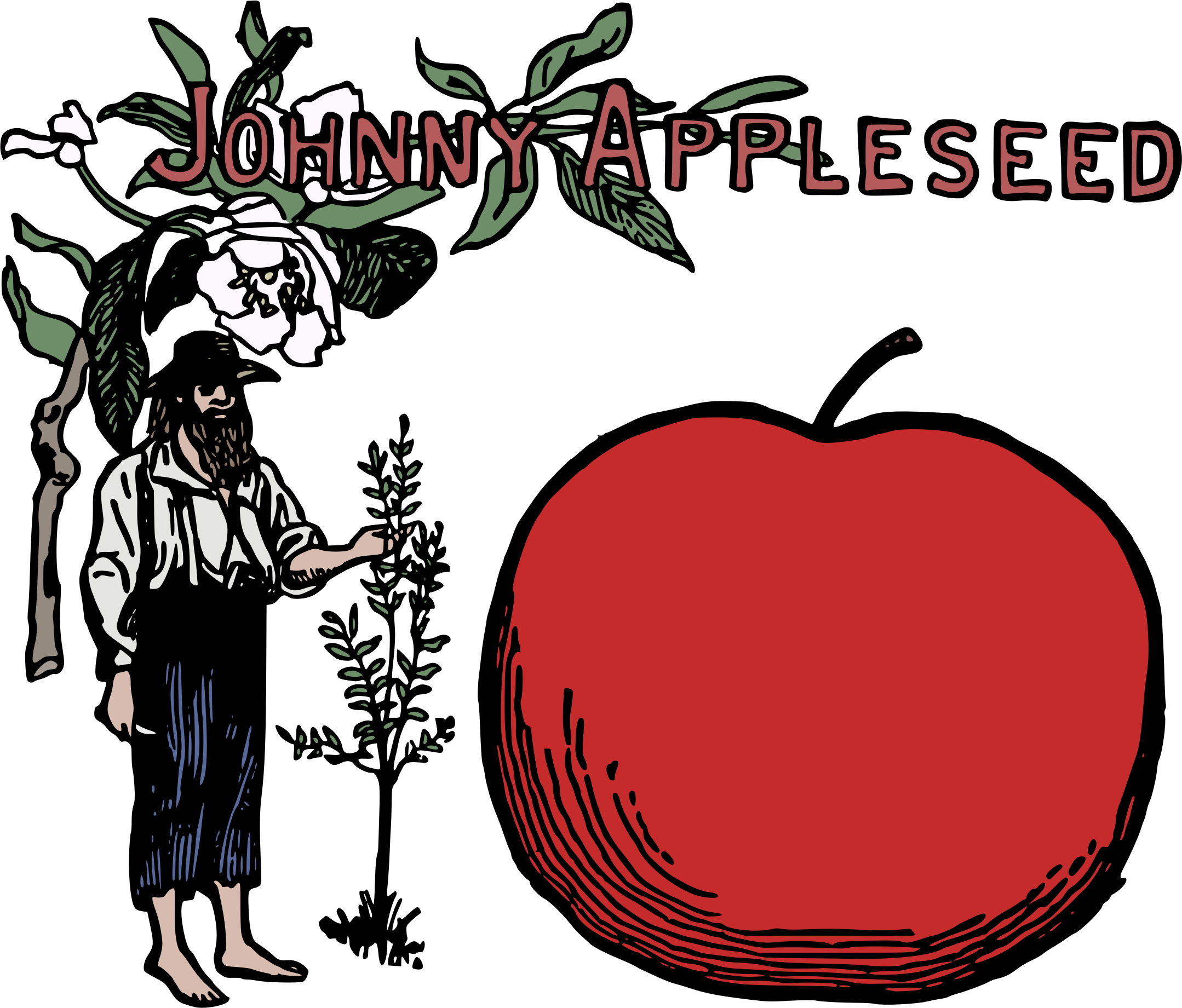 Clipart tree colour. Johnny appleseed icons png